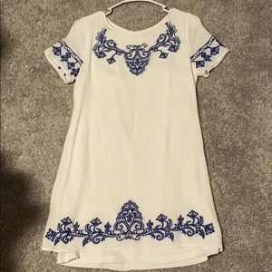 Lulu's White Formal Dress with Blue Floral Design